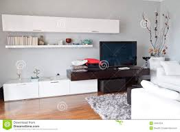 For Furniture In Living Room Interior Of A Living Room Flat Tv White Furniture Stock Images