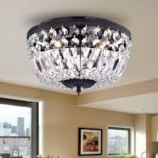 bowl style crystal basket black flush mount chandelier 3 light ceiling fixture