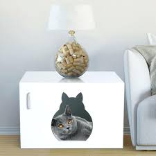 wood cat litter box furniture wooden washroom enclosure white 1 2