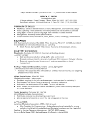 Business Resume Sample Experience Resumes
