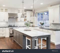 Hardwood Or Tile In Kitchen Beautiful Kitchen Luxury Home Island Pendant Stock Photo 393270364