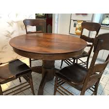 Vintage Round Wood Dining Table W 6 Chairs Aptdeco