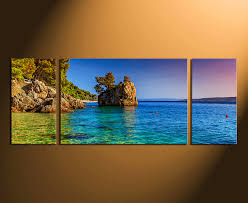 Small Picture 3 Piece Multi Panel Art Blue Ocean Canvas Photography Sea Huge