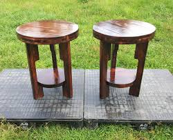 handcrafted wooden pallet end tables