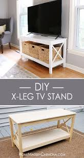 diy media consoles and tv stands diy x leg tv stand make a do