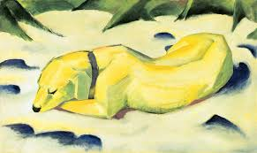 franz marc dog lying in the snow 1910 1911 städel