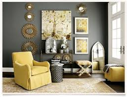 image of grey and yellow living room decoration