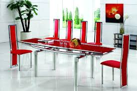 red glass dining table extending glass dining table with dining chairs modern black and red tempered