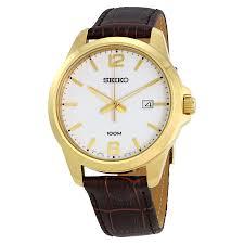 seiko white dial brown leather men s watch sur252