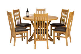 round dining table 6 chelsea brown leather oak chair set previous