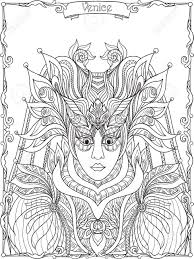 Venetian Mask Carnival Costume Outline Hand Draw Coloring