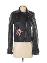 trafaluc by zara women black faux leather jacket sm