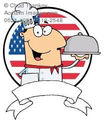 american food clipart. Fine Clipart Clipart Image Of The American Flag Behind A Smiling Chef With Tray Food Throughout