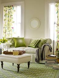 Green Living Room - LOVE THIS! The magic of mixing different patterns!