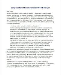 Sample Letter Of Recommendation From Free Job Resume Samples For