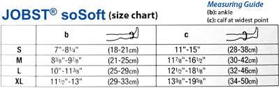 Compression Socks Sizes Chart Jobst Sosoft Knee High Support Compression Socks Brocade 8 15 Mmhg