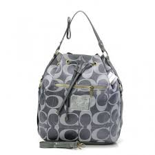 Coach Drawstring Medium Grey Shoulder Bags BAS