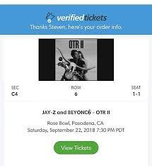 1 Ticket On The Run Ii Beyonce Jay Z 9 22 Sec C4 Row 6
