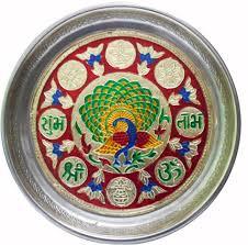 Pooja Ki Thali Design Multicolour Stainless Steel Plain Puja Thali With Peacock