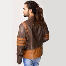 home men celebrities jackets wolverine leather jacket