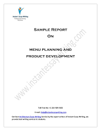 sample report on menu planning and product development by instant ess