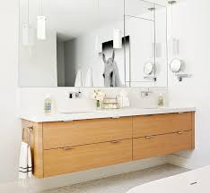 wall mounted faucets bathroom. View Full Size. Contemporary Bathroom Features Veneer Floating Double Vanity Paired With Modern Wall-mounted Faucets Wall Mounted W