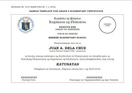 Sample Template Grade 6 10 12 Certificate Deped Lps