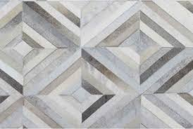 taupe and cream diamond patchwork cowhide rug no 302 6x6ft