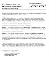 Types Of Resumes Samples Functional Resumes For Experienced