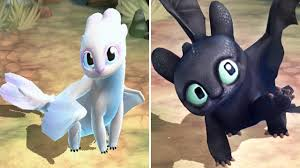 Light Fury And Toothless Baby Baby Light Fury Baby Toothless Dragons Titan Uprising
