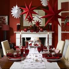 The red christmas decorations in this dining room is simply mesmerizing.  The red stars, Christmas balls and candle holders complement well with the  white ...