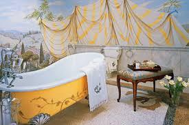 Nice Mediterranean Bathroom With Wall Murals And Topiries Warm Bathroom Wallpaper Murals