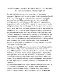 sample essay on the role of ng os in promoting empowerment for sustai  sample essay on the role of ngos in promoting empowerment for sustainable community development the role