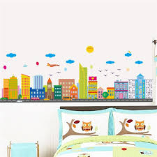 modern city building wall stickers home living room decorations diy landscape scenery mural art creative walls decals posters wall art vinyl stickers wall
