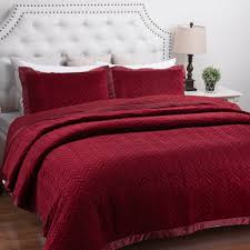quilt sets king size velvet quilt set bedding white red color combine in square and