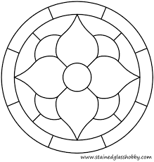 simple stained glass coloring pages flower round panel geometric
