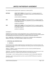 Limited Partnership Agreement Template Limited Partnership Agreement 2 Template Word Pdf By Business