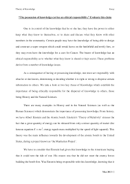 tok essay the possesssion of knowledge carries an ethical theory of knowledge essay
