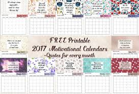 mothly calendar free printable 2017 motivational monthly calendar