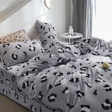 hot decbest 4pcs flannel c fleece leopard print bedding set full queen size duvet quilt cover bed sheet newchic