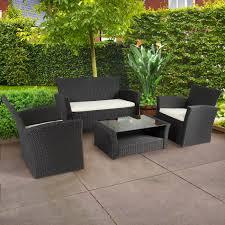 4pc outdoor patio garden furniture wicker rattan sofa set black com