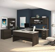 u shaped desk with lateral file and bookcase