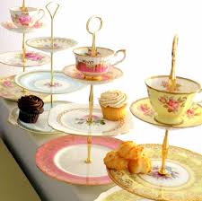 here is how to make a triple tiered version using nothing more than old teacups saucers and plates