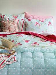 mint blue white and pink bedding set with polka dots fl prints and stripes
