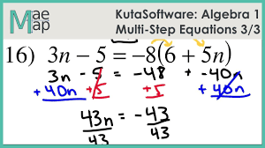 kuta algebra 1 multi step equations part 3