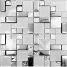silver metal and glass tile backsplash ideas bathroom brushed stainless steel sheet plated crystal glass mosaic