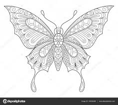 Vlinder Volwassen Anti Stressprogramma Kleurplaat Stockvector