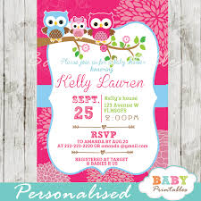 Baby Shower Invitation Cards Hot Pink Owl Family Baby Shower Invitation Card D120