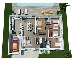 plan 3d villa contemporaine de plain pied moderne