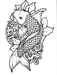 Japanese Art Coloring Pages Koi Fish